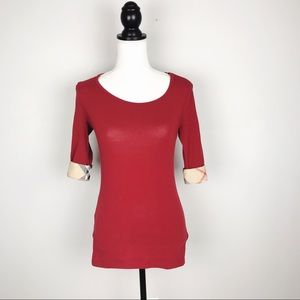 Burberry Brit Red Cuffed Sleeve Blouse